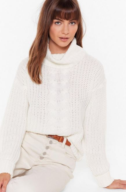 Cream chunky knit sweater with turtleneck