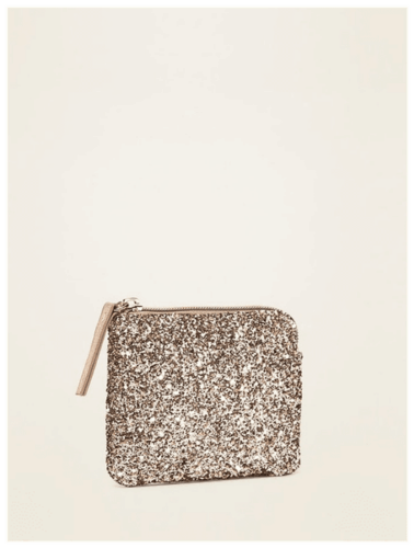 Gold Glitter Mini Zip-Top Wallet