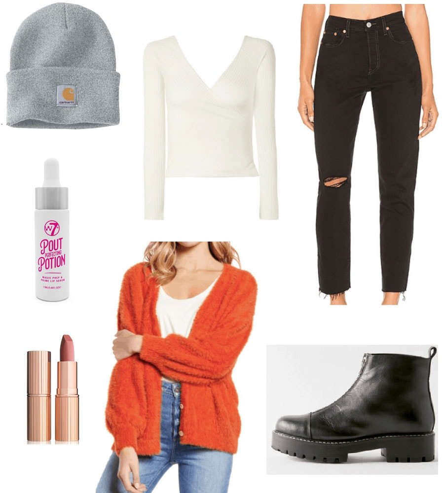 Outfit set with orange cardigan, white top, black jeans and black boots.