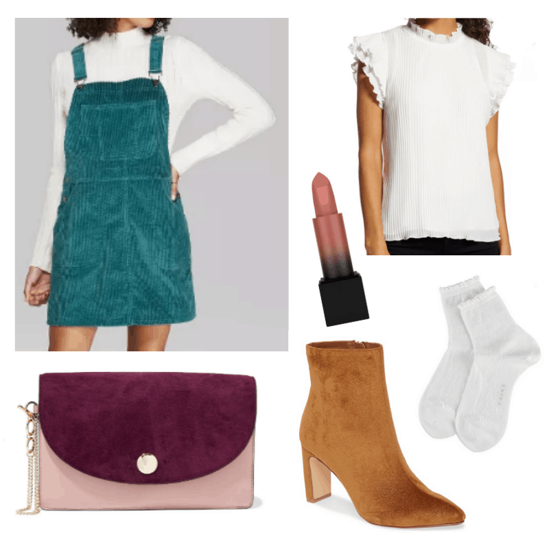 What to wear to friendsgiving - friendsgiving outfit idea with teal velvet overall dress, ruffled white top, brown ankle boots, burgundy and pink purse, white socks