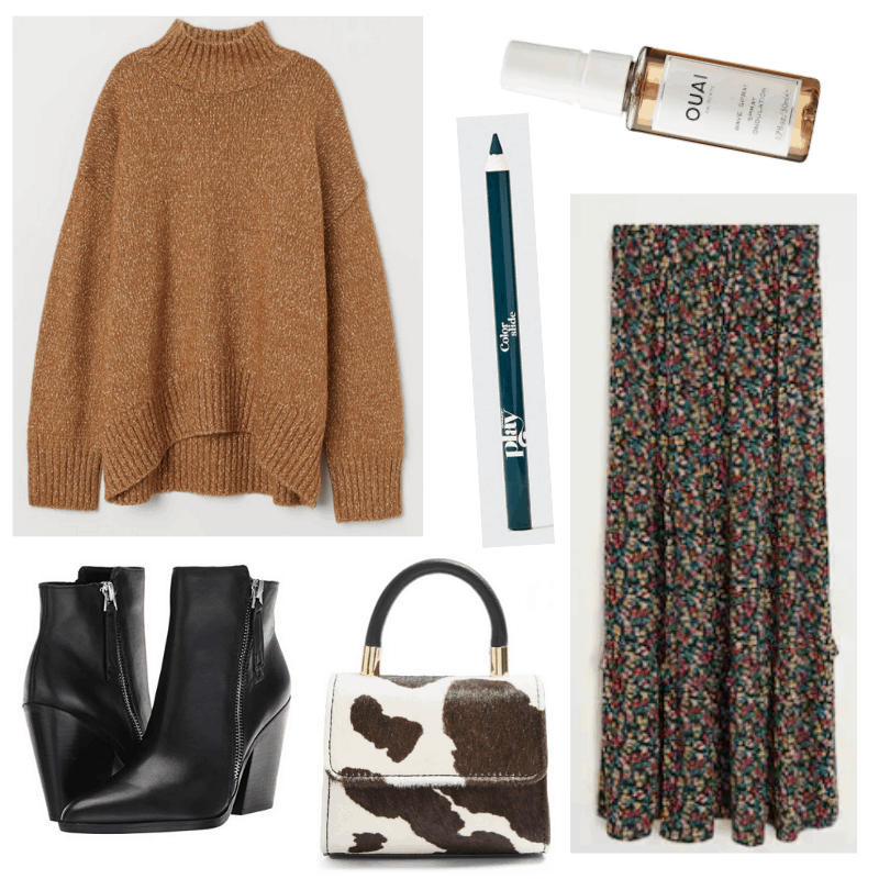 What to wear to friendsgiving - friendsgiving outfit idea with oversized sweater, long skirt, ankle boots, cow print bag