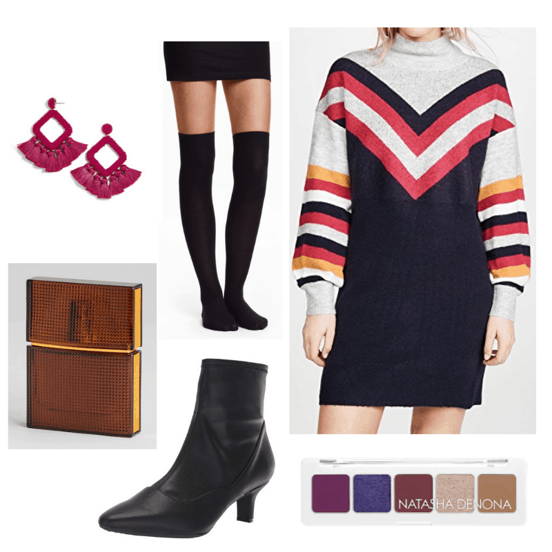 What to wear to friendsgiving - friendsgiving outfit idea with chevron sweater dress, over-the-knee socks, black ankle boots, statement earrings