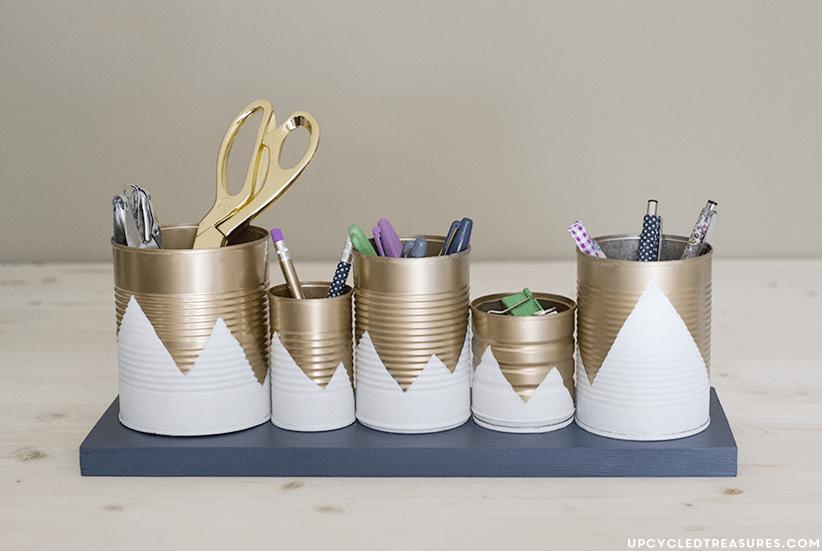 gold and white mountain desk organizer
