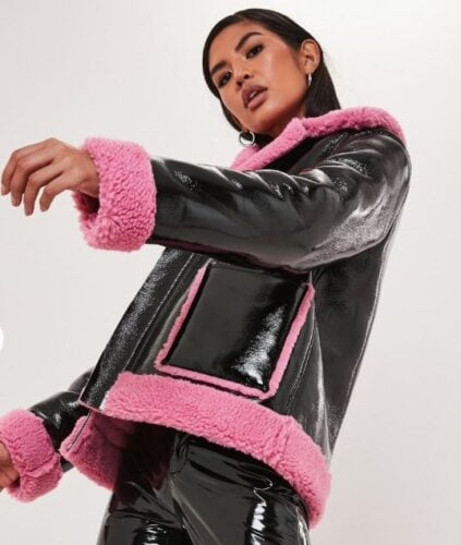 Teddy vinyl aviator jacket from Missguided