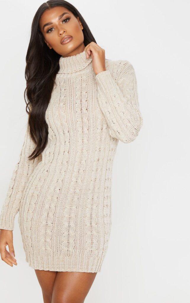 Cream knit sweater dress