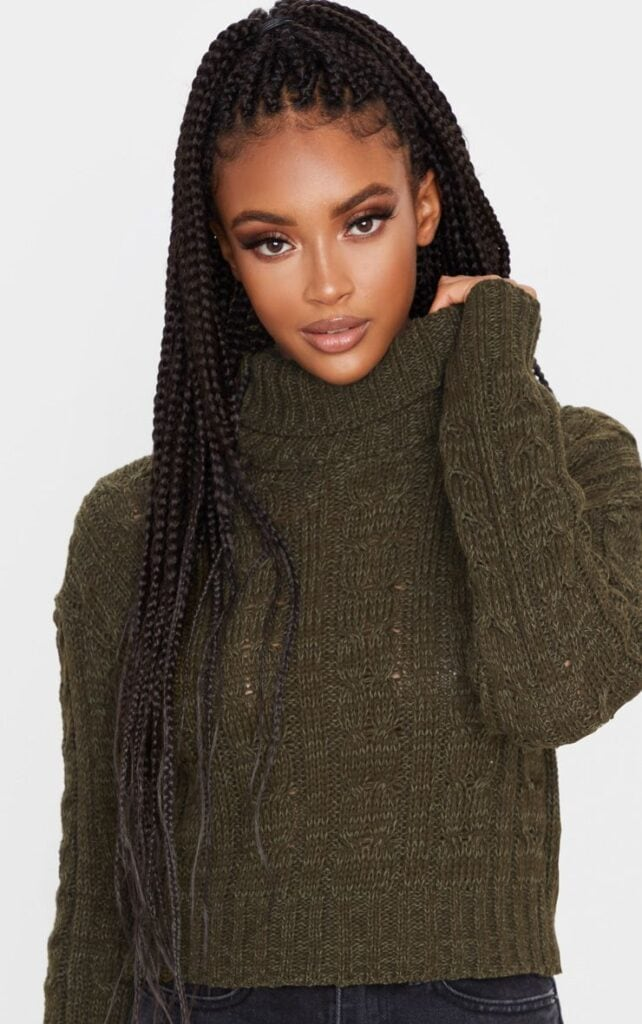Chunky green knit sweater