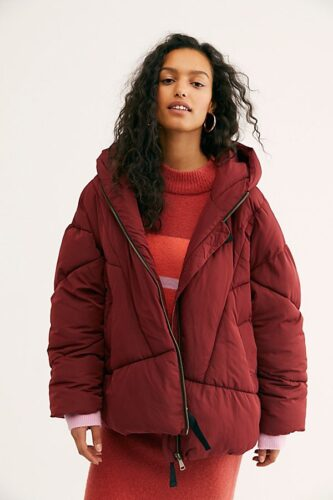 Red puffer coat from Free People