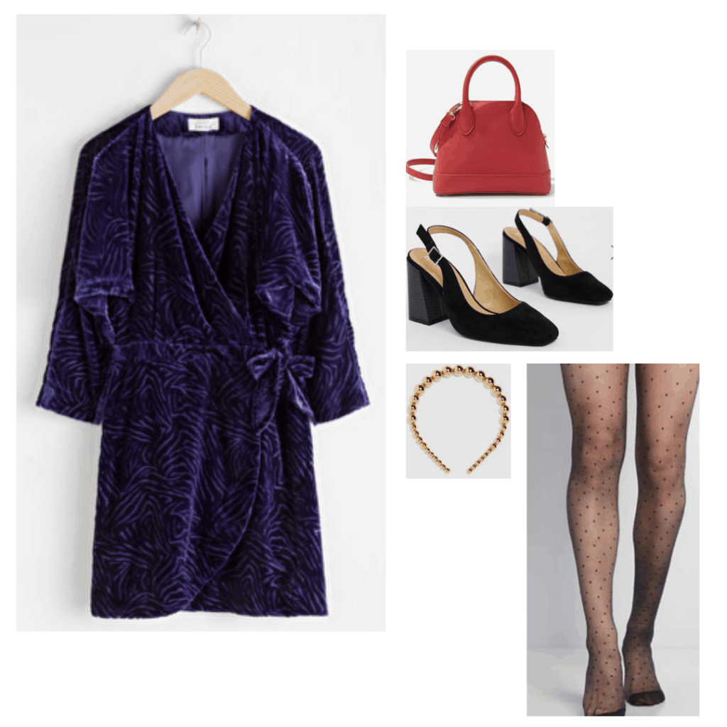 Evil queen fashion from Snow white - Disneybound Outfit inspired by the Evil queen with purple velvet dress, vintage heels, printed tights, gold headband, red purse