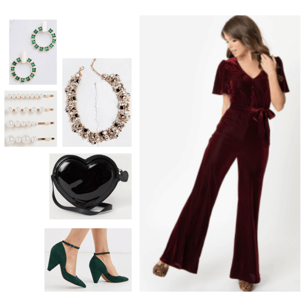 Evil queen fashion - disneybound outfit inspired by the evil queen from Snow White with red velvet jumpsuit, black shiny purse, green heels, statement jewelry