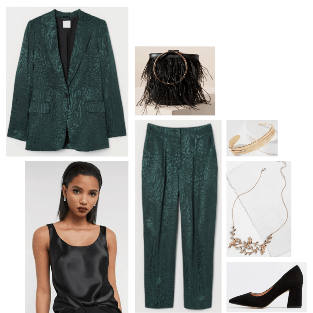 Maleficent fashion - outfit inspired by Disney's maleficent with green suit, black block heels, black satin cami, gold jewelry