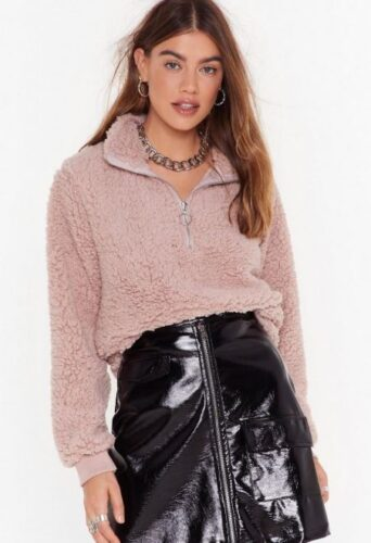 Nasty Gal zip up shearling top