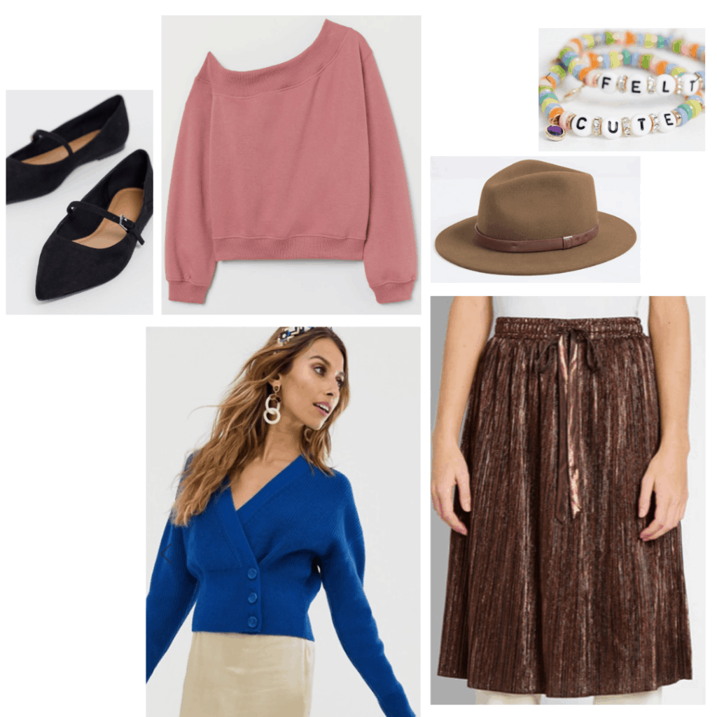 Sixteen Candles fashion - outfit inspired by Samantha in Sixteen Candles with off shoulder sweatshirt, pleated skirt, ballet flats, cardigan, hat