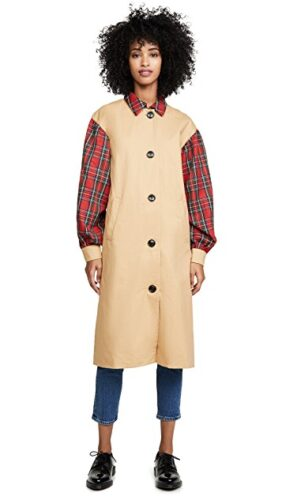 Plaid sleeve trench coat from Shopbop