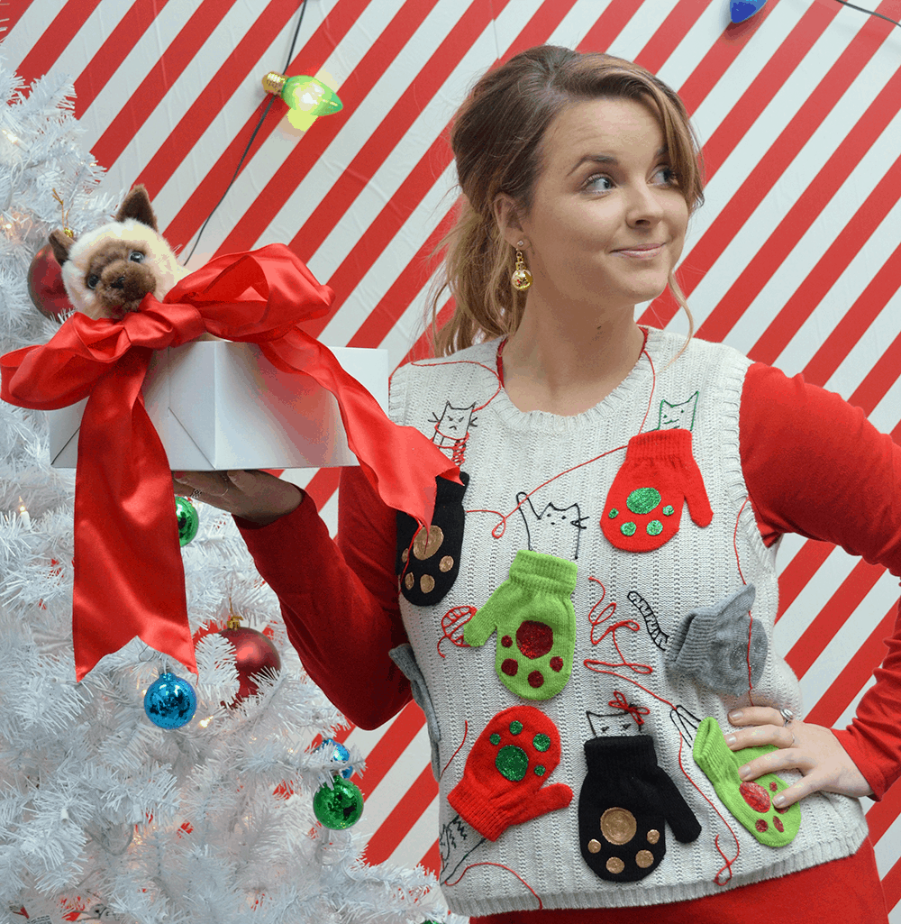 ugly christmas sweater with mittens and kittens