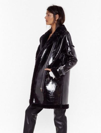 Faux leather jacket with faux fur
