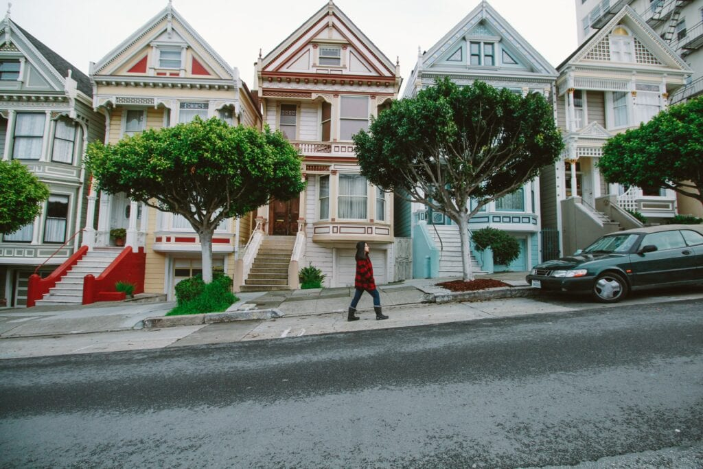 A person walking in San Fransisco.
