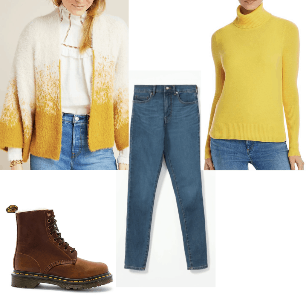 Outfit set with blend white and yellow cardigan, yellow sweater, blue jeans and brown boots.