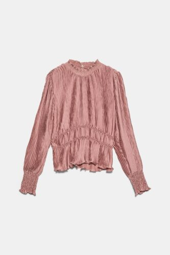 Pink pleated blouse from Zara