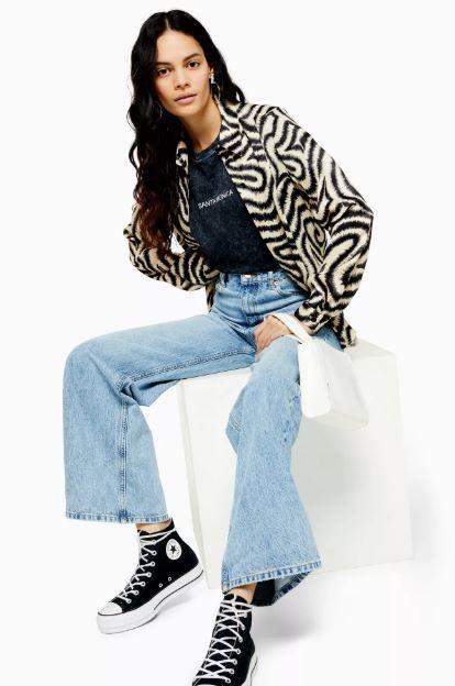 Topshop bleach wide leg jeans