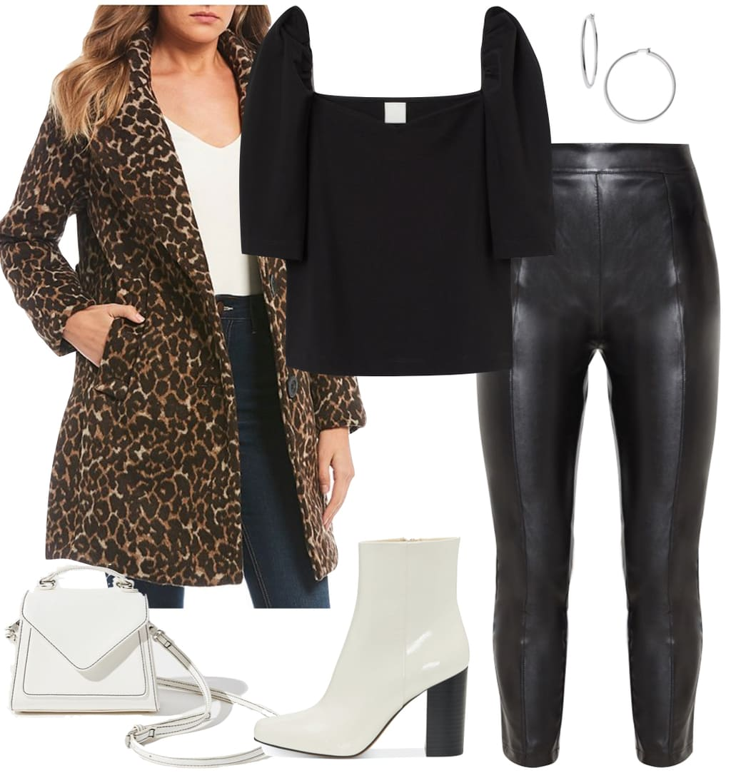Ashley Tisdale Outfit: leopard print coat, black faux leather pants, black puff sleeve top, silver hoop earrings, white ankle booties, and white mini handbag