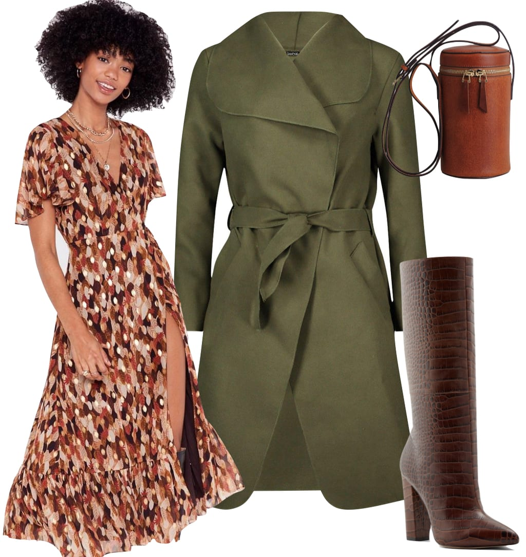 Ashley Tisdale Outfit: printed midi dress, olive green belted shawl collar coat, brown cylindrical crossbody bag, and brown crocodile embossed tall boots