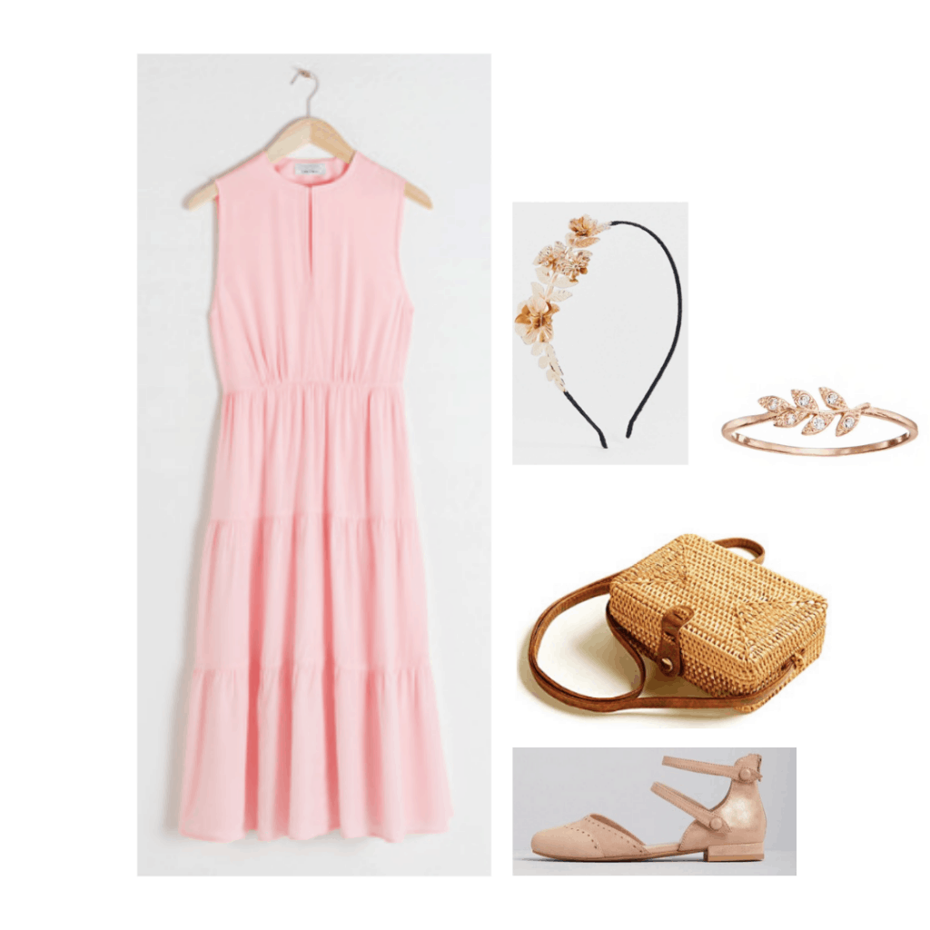 Little Women fashion: Outfit inspired by Beth March's style with pink dress, floral headband, floral jewelry, nude flats