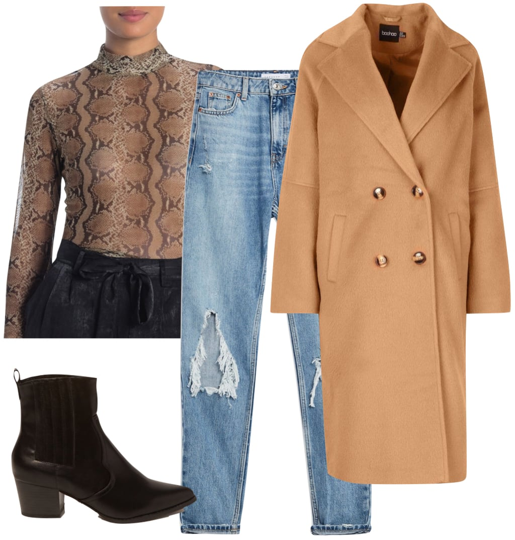 Camila Cabello celebrity winter Outfit: mesh snake print mock neck top, ripped straight leg jeans, camel long double-breasted coat, and black faux leather booties