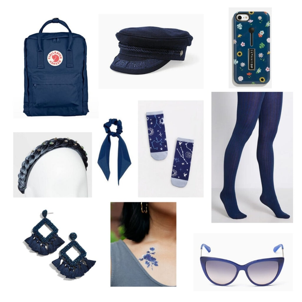 Blue backpack, hat, phone case, tights, sunglasses, temporary tattoo, earrings, headband, hair scrunchie, and socks.