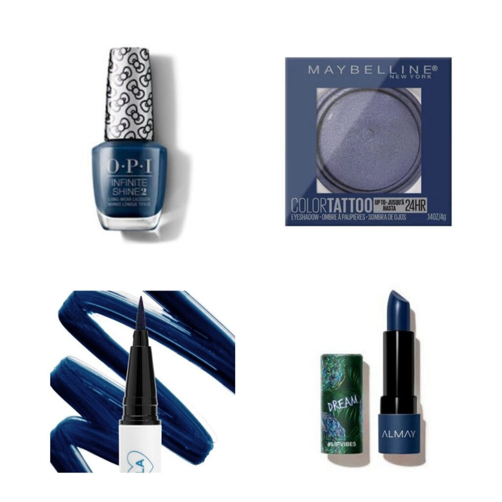 Pantone Color of the Year 2020 makeup: Blue nail polish, eyeshadow, eyeliner, and lipstick.
