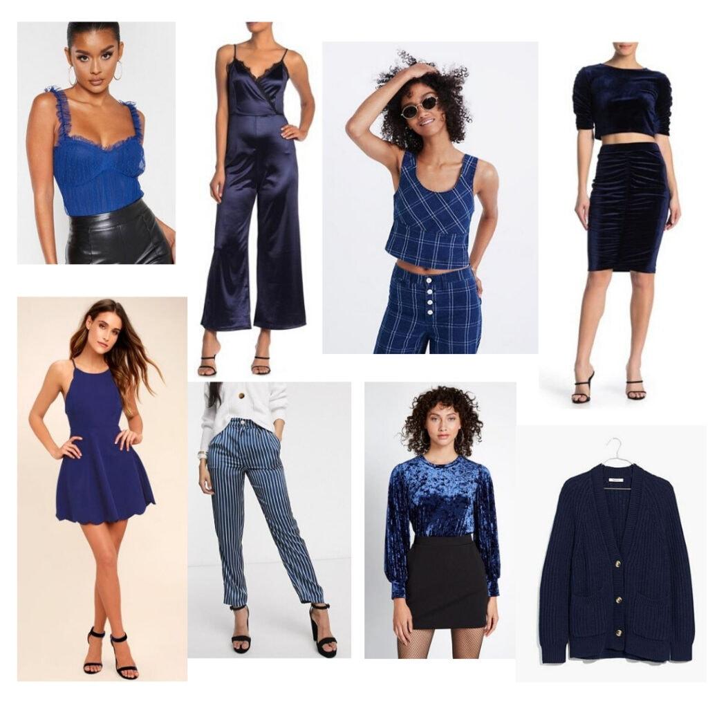 Blue bodysuit, jumpsuit, top, skirt, sweater, velvet blouse, pants, dress.