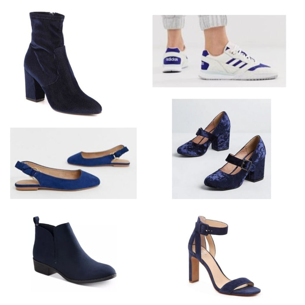 Pantone color of the year shoes: Blue boots, sneakers, block heels, heels with ankle strap, boots, and flats.