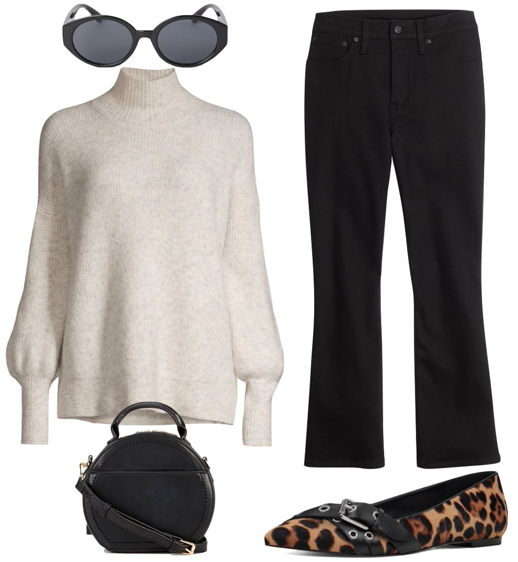 Emma Roberts Outfit #2: cream balloon sleeve turtleneck sweater, black cropped bootcut jeans, black oval sunglasses, buckled leopard print flats, and black round handbag