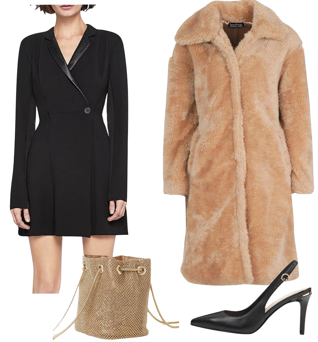 Gabrielle Union Outfit: black blazer mini dress, gold rhinestone bag, black slingback pumps, and a camel faux fur teddy coat