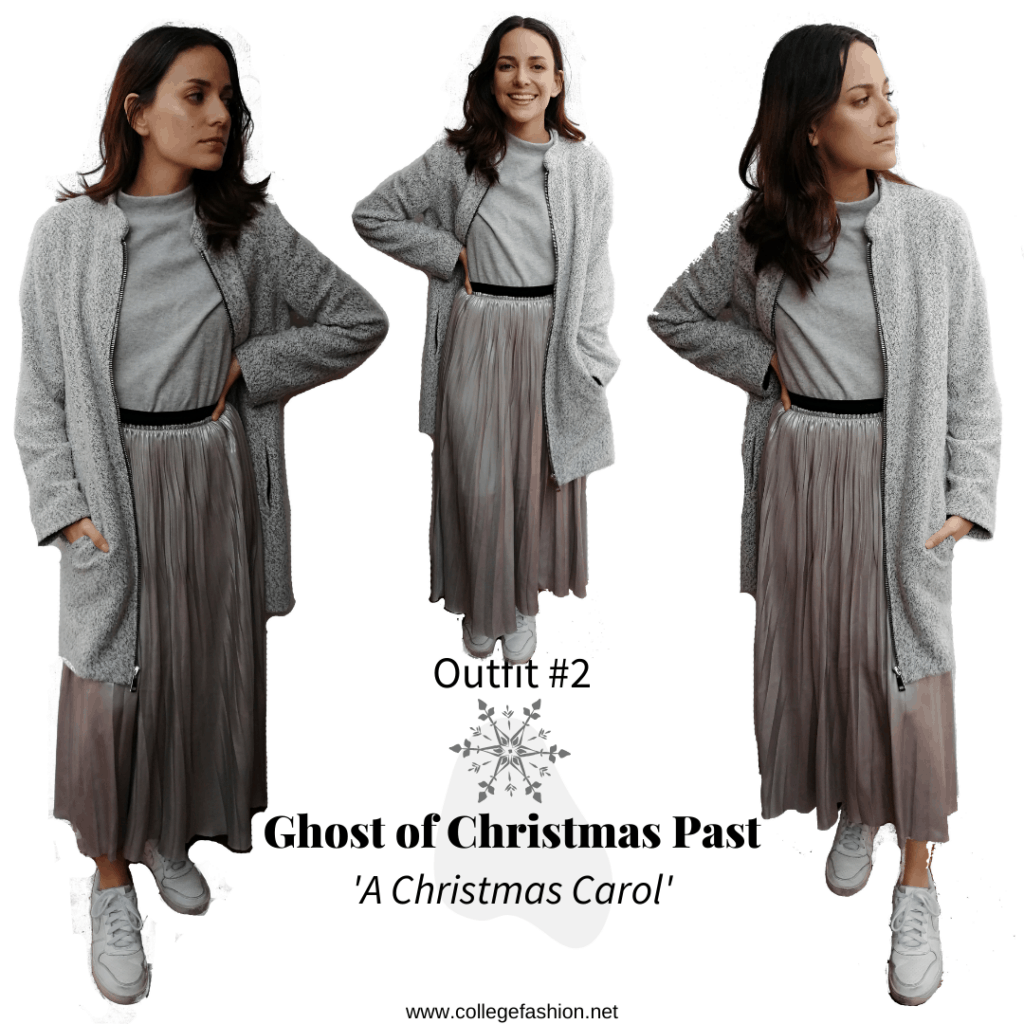 Ghost of Christmas Past Outfit: Silver skirt, grey shirt, white sneakers, grey coat