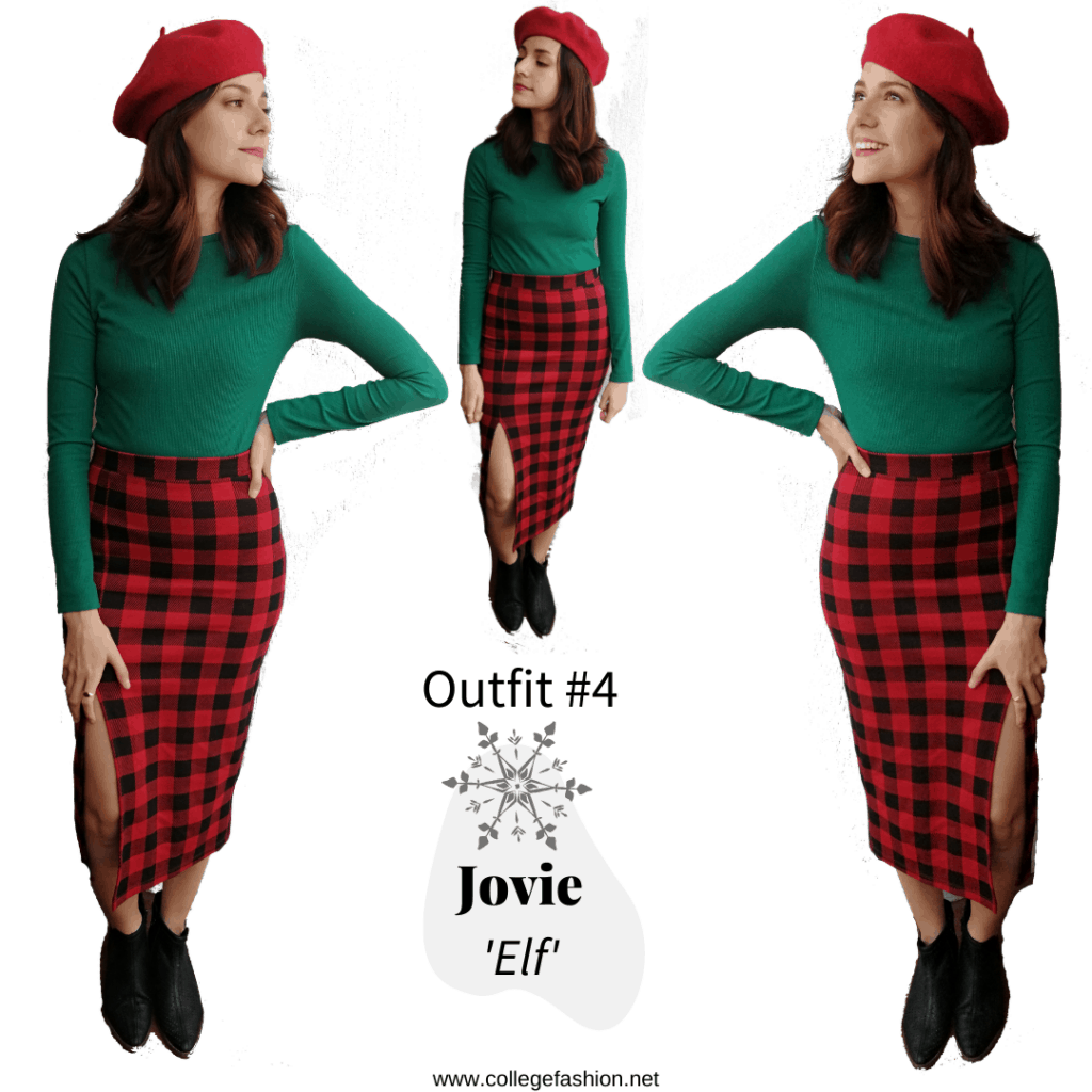 Jovie Outfit: plaid skirt, green shirt, black booties, red beret