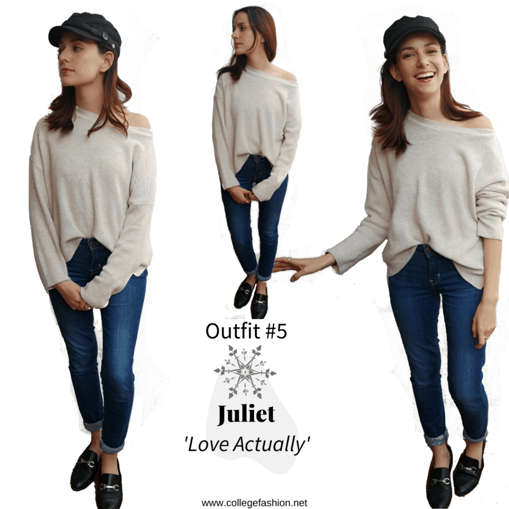 Christmas movie fashion Juliet Outfit from Love Actually: white sweater, blue jeans, black shoes, black hat