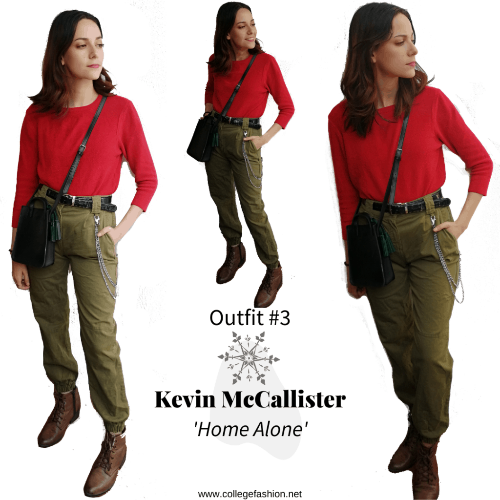 Kevin Outfit: red sweater, green pants, brown boots, black bag and belt.