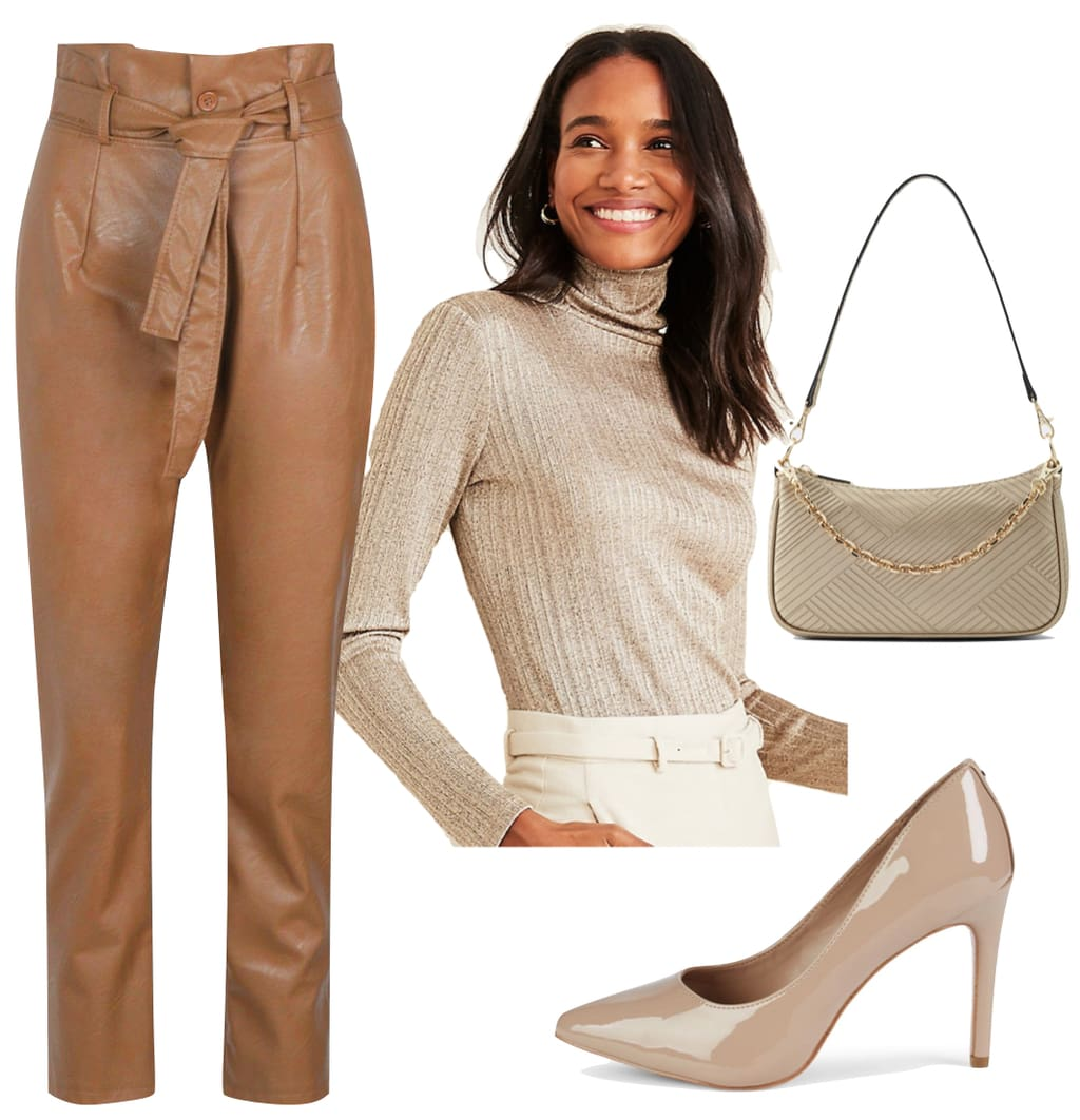 How to wear leather pants - Kylie Jenner Outfit: brown faux leather high rise pants, metallic ribbed turtleneck top,