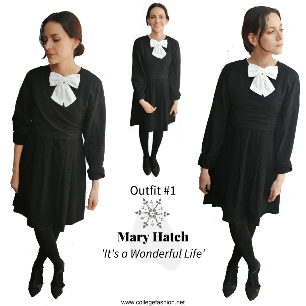 Christmas movie fashion - Mary Hatch Outfit from It's a Wonderful Life: black dress, sweater, tights, flats
