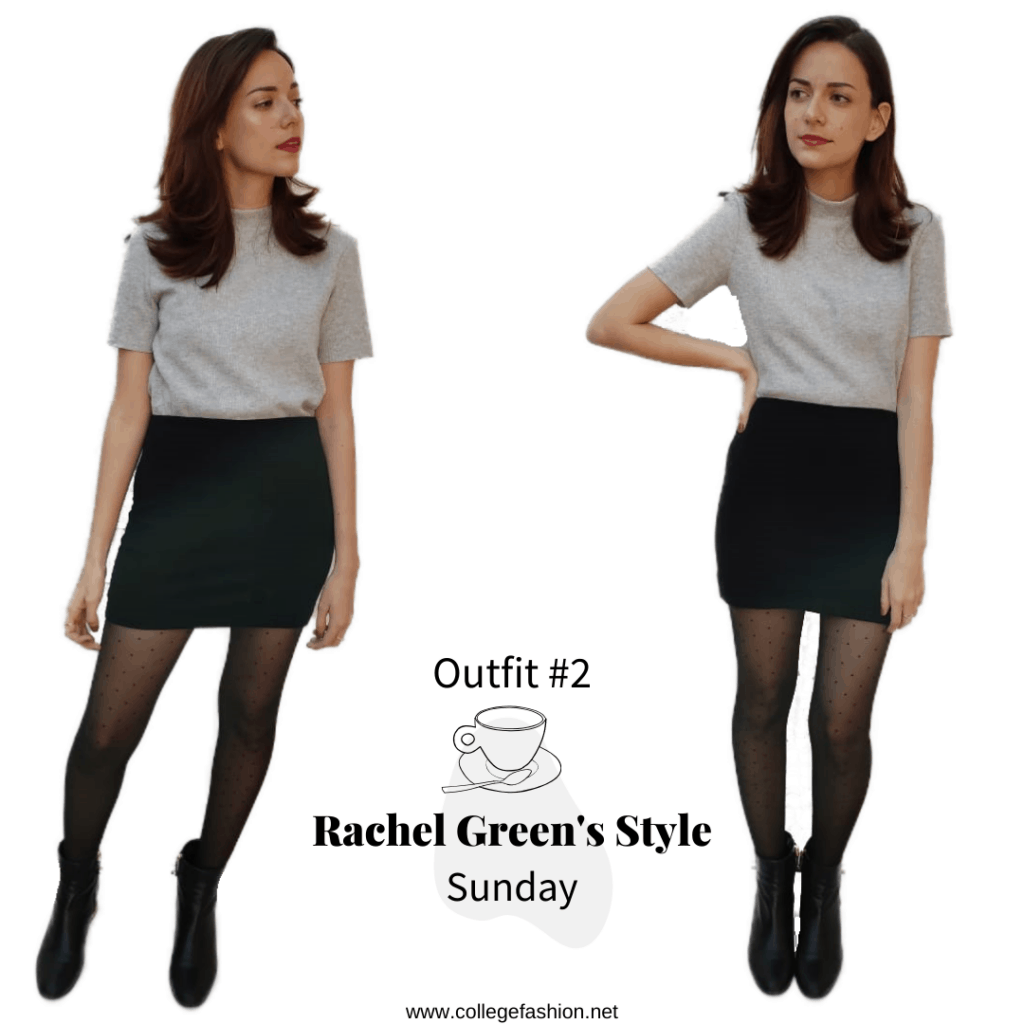 Rachel Green's Style- Outfit #2 Sunday, skirt, mock neck shirt, tights, booties