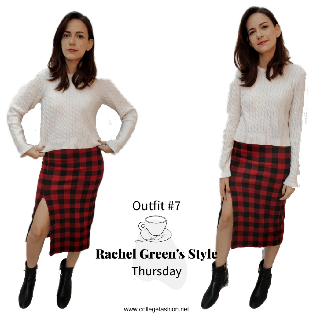 Rachel Green's Style- Outfit #7, Thursday plaid skirt, white sweater, black booties
