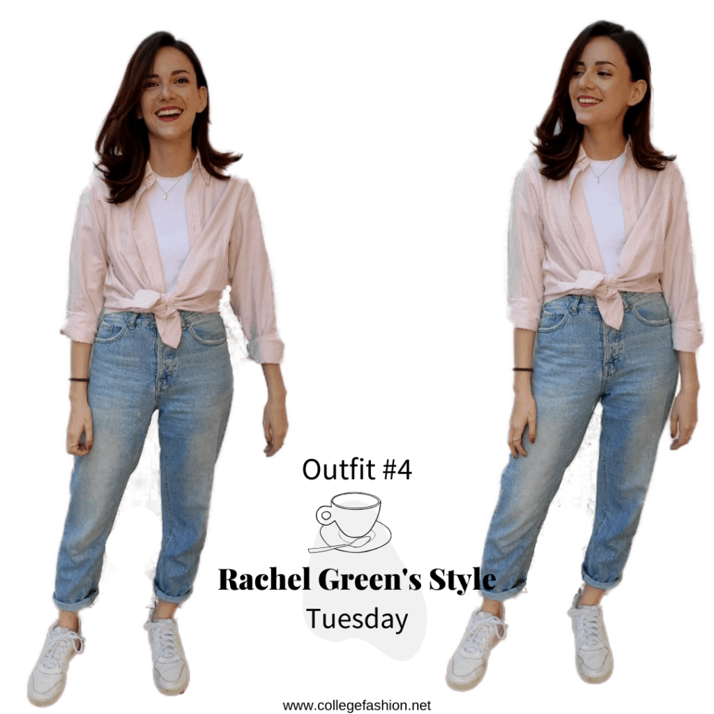 Rachel Green's Style- Tuesday Outfit #1, pink shirt, t.shirt, jeans, sneakers