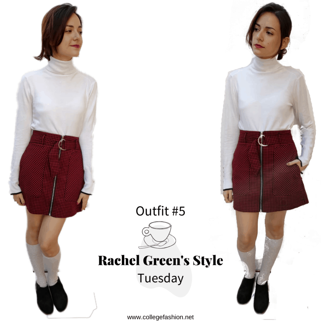 Rachel Green's Style- Tuesday Outfit #2 turtleneck shirt, plaid skirt, socks, loafers