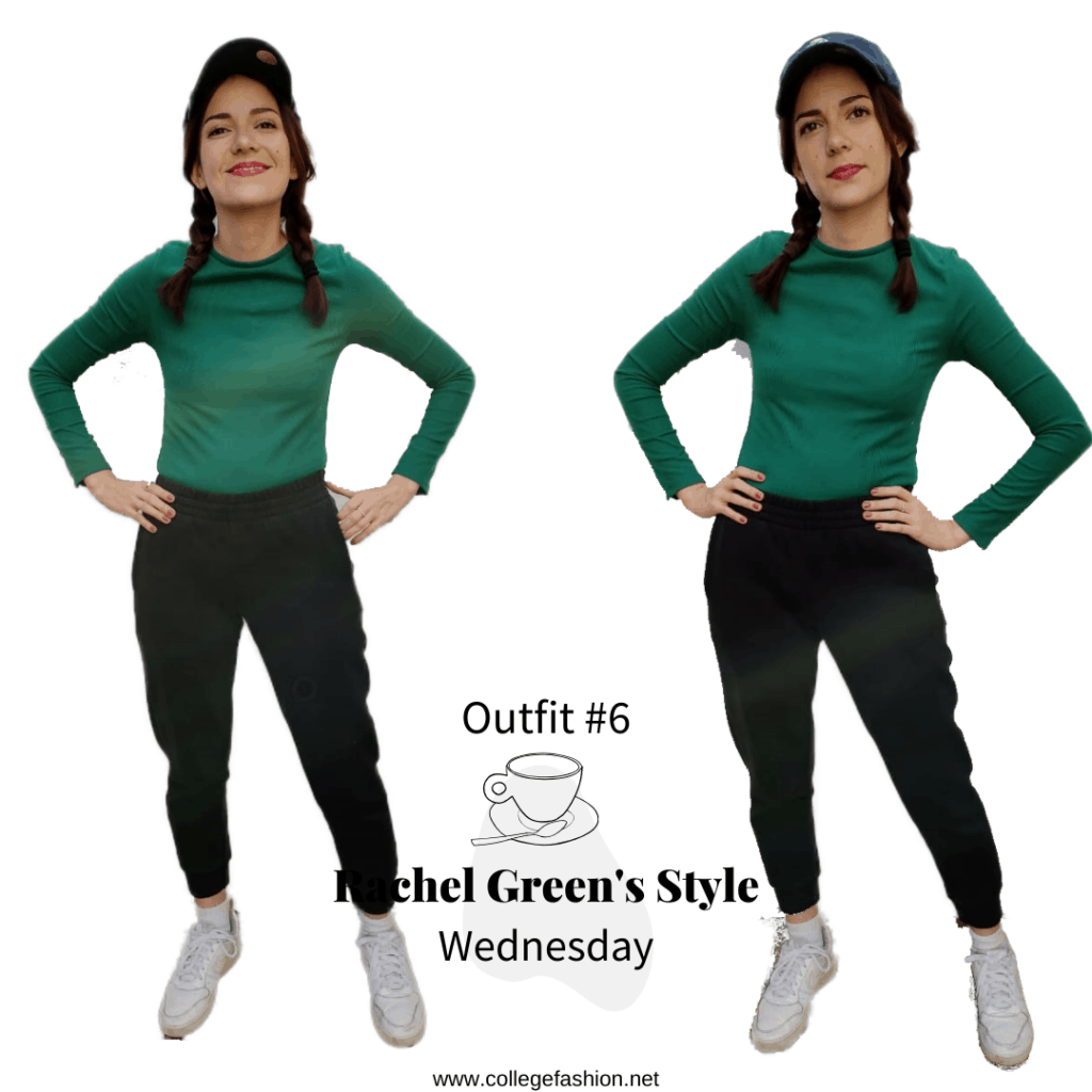 Rachel Green's Style- Outfit #6, Wednesday green shirt, joggers, sneakers, baseball cap