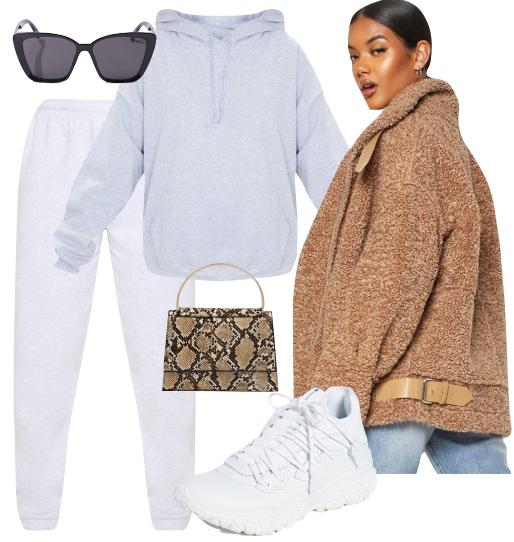Cute celebrity winter outfit inspired by Rihanna: gray hoodie sweatshirt, gray jogger sweatpants, black square sunglasses, chunky white sneakers, beige teddy aviator jacket, and mini snake print handbag