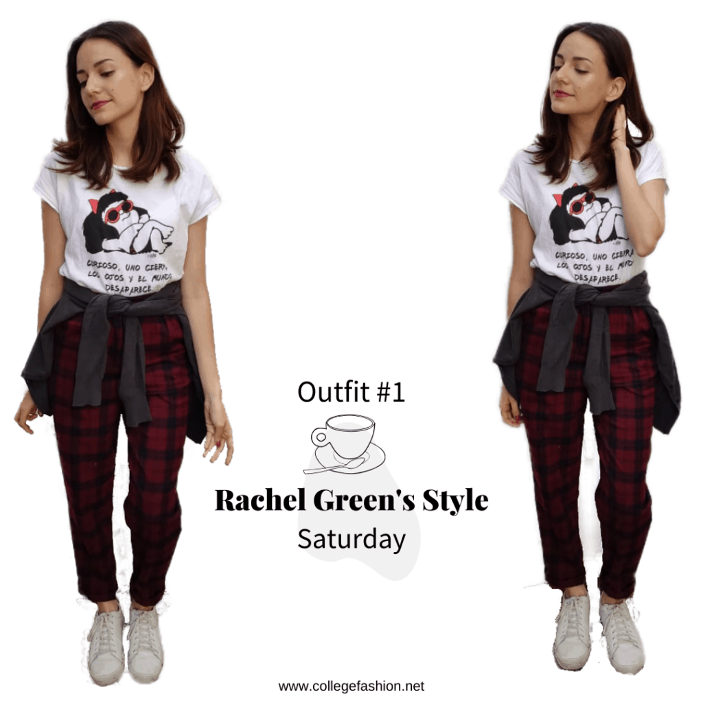 Rachel Green's outfits - Outfit #1, Saturday plaid pants, t-shirt, sneakers, sweater