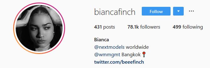 How to grow your Instagram account - Screenshot of model Bianca Finch's Instagram profile