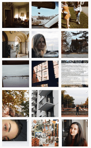 Screenshot of the author's photography Instagram profile
