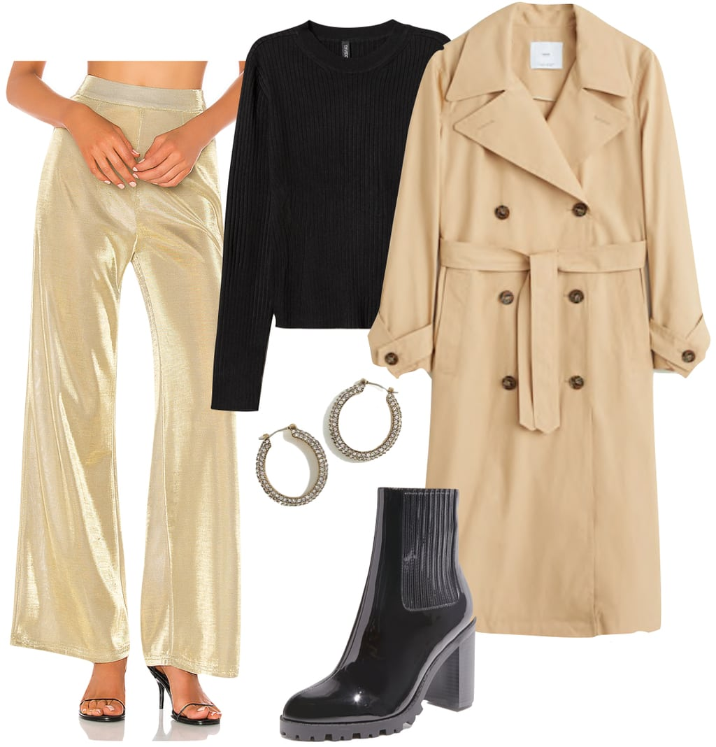 Selena Gomez Outfit: gold metallic wide leg pants, black crewneck top, trench coat, pave hoop earrings, and patent black lug sole booties