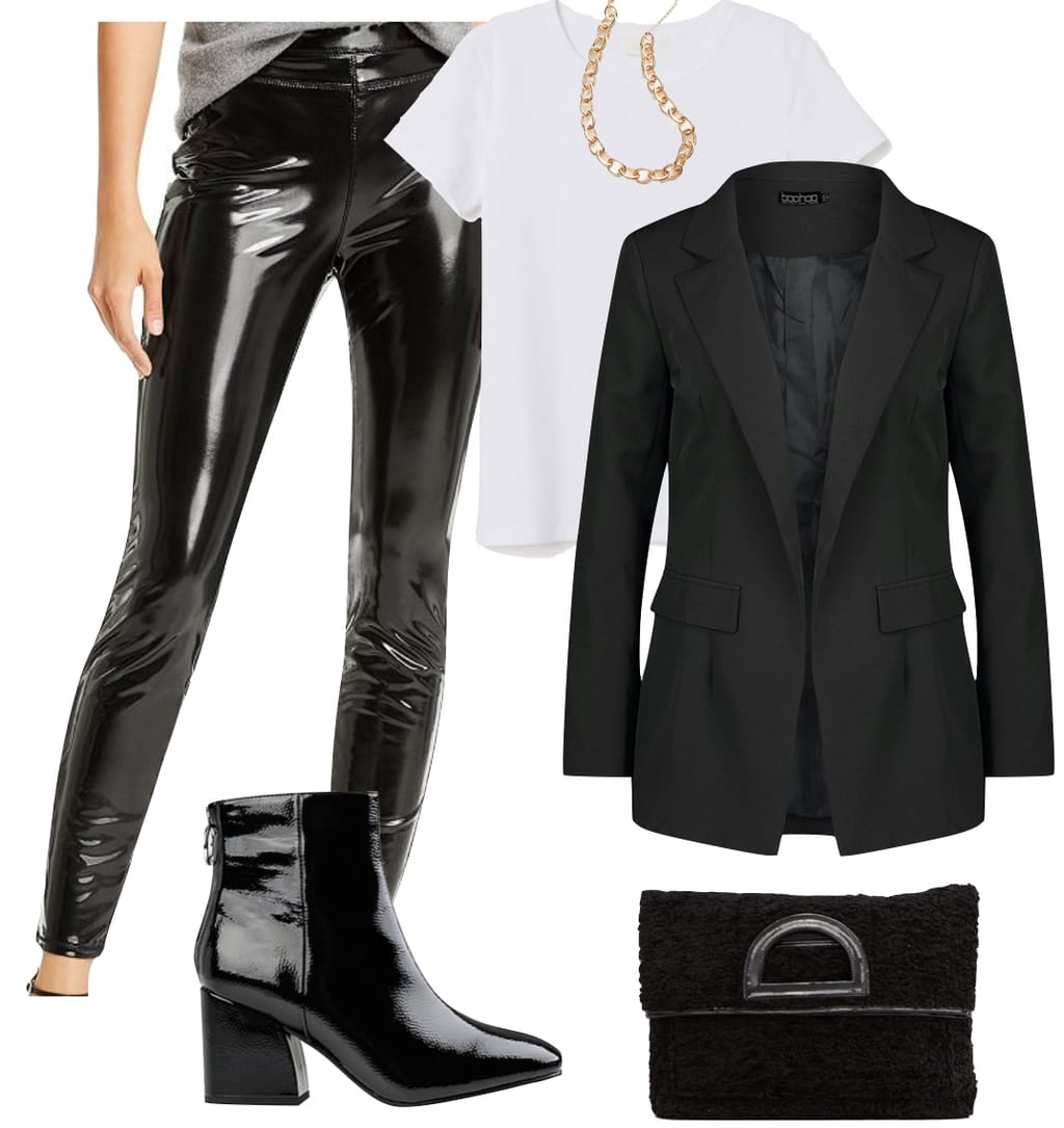 Shay Mitchell Outfit: patent faux leather leggings, white crewneck t-shirt, gold chain link necklace, black oversized blazer, black shearling clutch bag, and black patent ankle booties